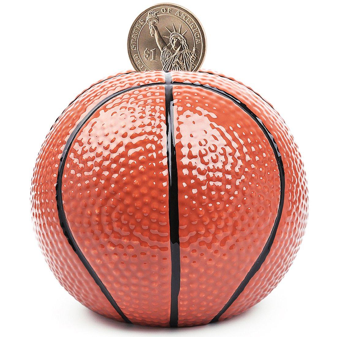 """Piggy Bank Ceramic Basketball Coin Bank-(4 designs for choice Golf/Basketball/Soccer/Football/) 6.5""""-FORLONG"""