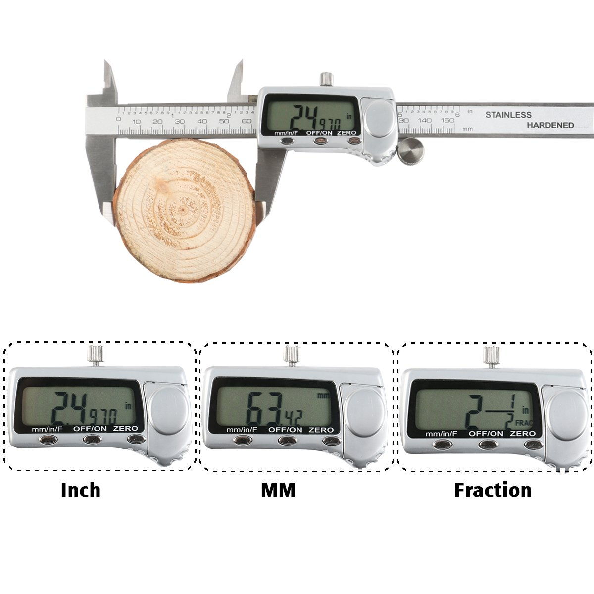 Digital Calipers OKPOW Inch Metric Fractions Conversion Stainless Steel Vernier Gauge 0-6 Inch/150mm with LCD Display Measuring Ruler