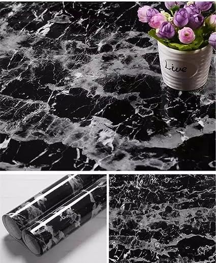 Yancorp Black Granite Look Marble Effect Counter Top Film Vinyl Self Adhesive Peel Stick Wallpaper