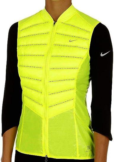Nike Aeroloft 800 Women's Running Vest, Volt/Reflective Silver, Small