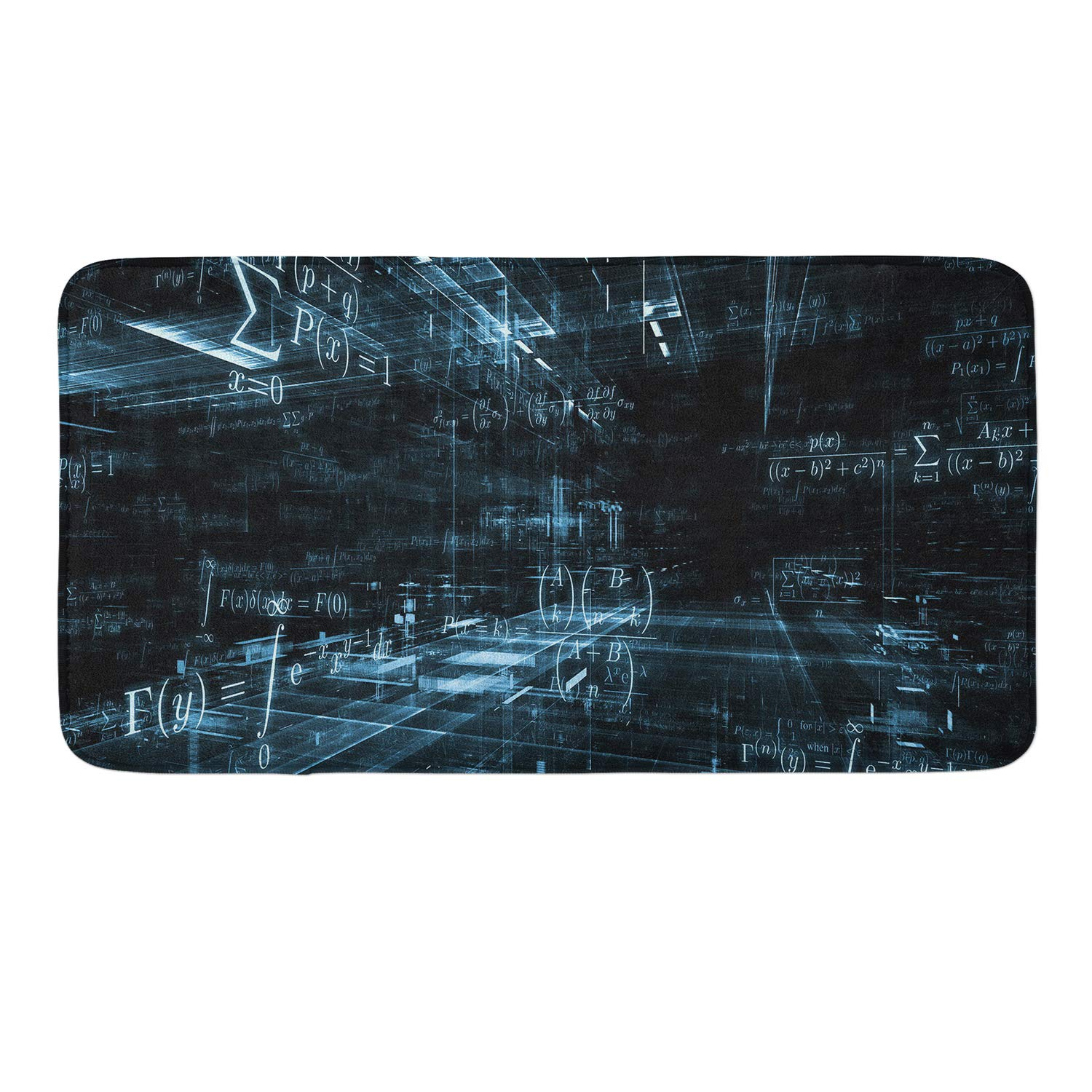 CIGOCI Non-Slip Memory Foam Bathroom Mat - 18x36 Inch, Extra Absorbent,Soft,Duarable and Quick-Dry Shaggy Mat, 3D PrintCoordinate Equation