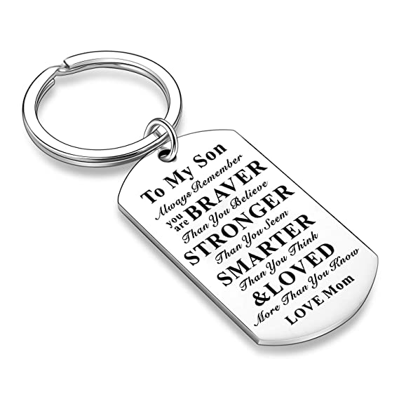 Inspirational Keychains for Daughter Son Gifts Dog Tag Keychain Belive Confident Gifts for Son Daughter from Mom Dad (Mom to Son)