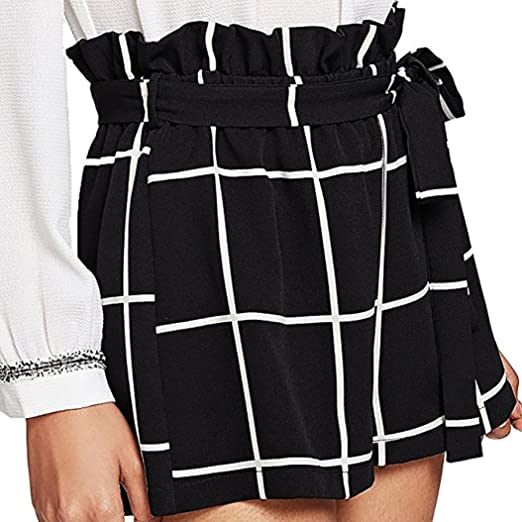 796a829ae7b Elogoog Hot Sale 2018 Women s Elastic Tie Waist Mini Plaid Shorts Casual  Summer Shorts with Side