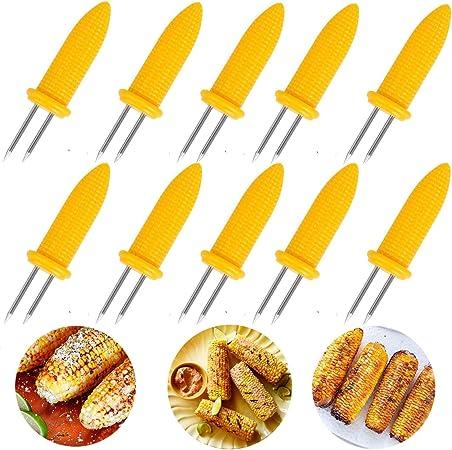 6 Stainless Steel Corn On The Cob Skewers Sweetcorn Holder Easy Grip BBQ Prongs