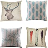 WUWE Cotton Linen Square Vintage Throw Pillow Case Shell Decorative Cushion Cover Pillowcase 【pack of four】