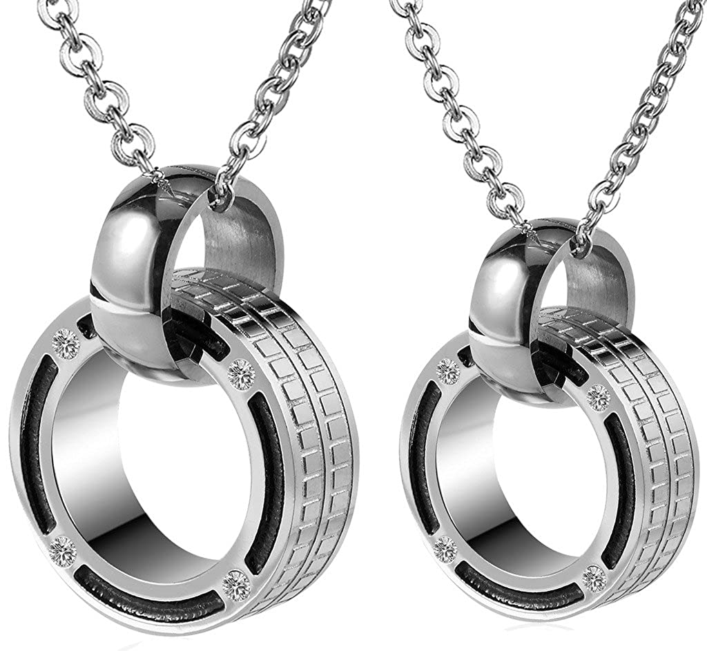 Epinki Stainless Steel Necklaces Womens Mens Chain Pendant CZ Double Rings Linked
