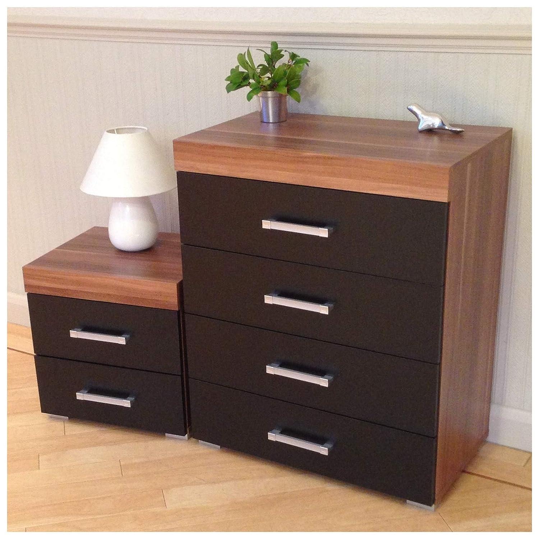 DRP Trading Black & Walnut 4 Drawer Chest & 2 Drawer Bedside Cabinet Bedroom Furniture