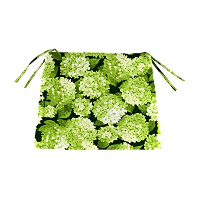 Plow & Hearth Classic Polyester Outdoor Chair Cushions with Ties, 20.75'' x 20'' x 3'' - Forest Hydrangea : Garden & Outdoor