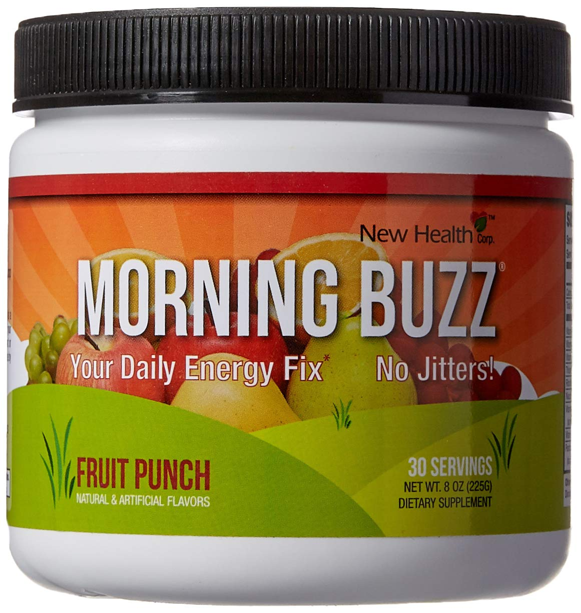 Morning Buzz Sports Energy Drink by New Health, Pre Workout, Sports Nutrition Drink, Supports Lasting Energy, Endurance, Mental Clarity, and Metabolism, 8 Ounce Powder Mix, 30 Servings by Mountain Health
