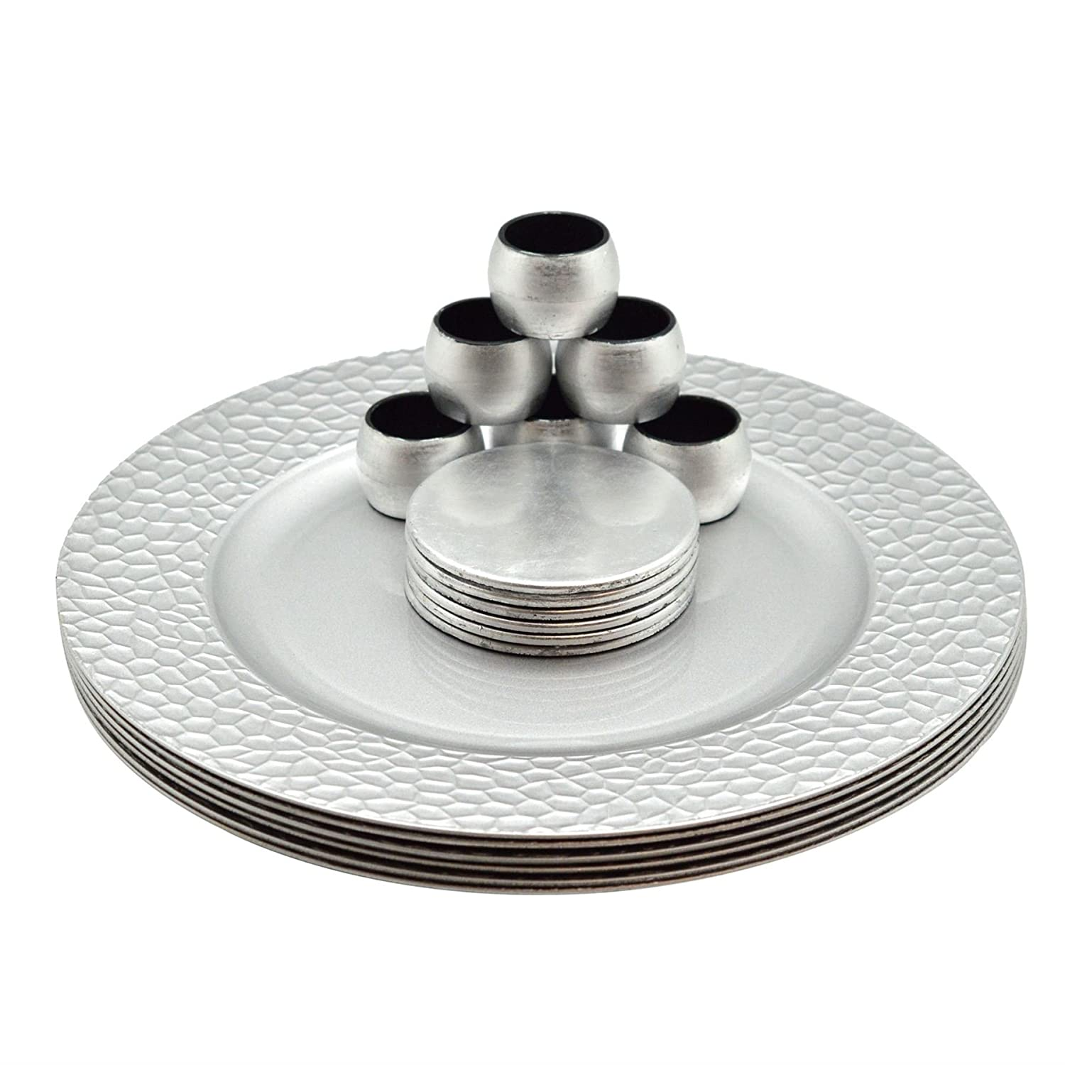 Argon Tableware Round Charger Plates, Coasters & Napkin Rings Set In Silver - Set Of 18 (6 Hammered Edge Plates, 6 Coasters, 6 Napkins Rings)