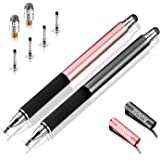 Capacitive Stylus Pen-Auorld Disc Tip & Fiber Tip 2 in 1 Precision Series Pen for Tablet and Touch Screens Devices (Black+Rose Gold)