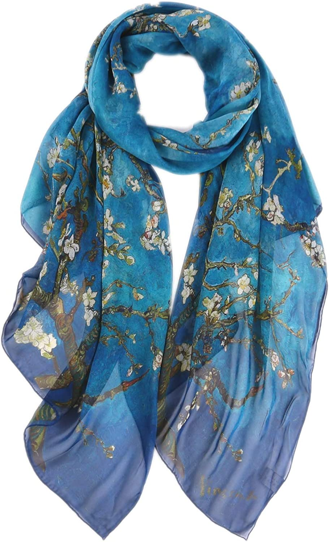 prettystern Estola de seda azul XXL Oversize van Gogh ramas de almendro