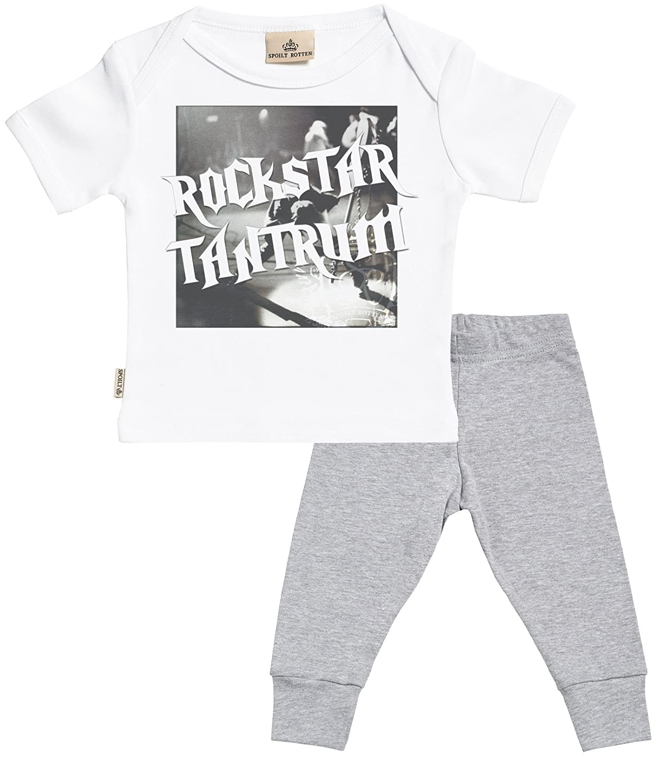 Baby T Shirt /& Baby Bottoms Outfit Rockstar Tantrum Baby Set Baby T-Shirt /& Baby Jersey Trousers SR