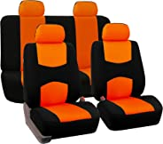 FH Group Universal Fit Full Set Flat Cloth Fabric Car Seat Cover, (Orange/Black) (FH-FB050114, Fit Most Car, Truck, Suv, or V