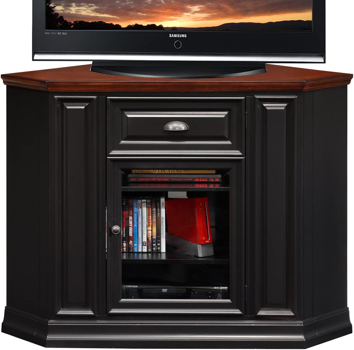 Leick Riley Holliday TV Stand, 46 , Black and Cherry Finish