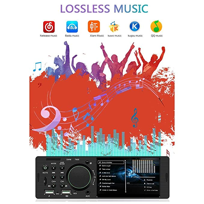 Amazon com: Car Touch Screen MP5 Player Bluetooth 4 1 Inch TFT 1 Din