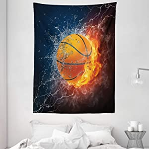 """Ambesonne Sports Tapestry, Basketball Ball on Fire and Water Flame Splashing Thunder Lightning, Wall Hanging for Bedroom Living Room Dorm Decor, 60"""" X 80"""", Blue Burgundy"""