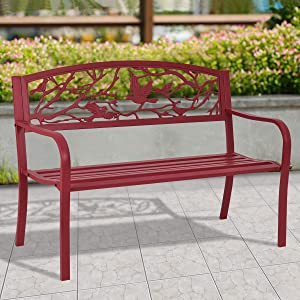 Bestdeal.shop Red Outdoor Chair Cast Iron Patio Garden Bench Park a Great Addition to Your Garden, Backyard, or Other Outdoor Living with Bright Color and Modern Design