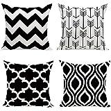 HuifengS New Living Series color motivo geometrico decorativo tiro federa cuscino per divano, divano o letto 45,7x 45,7cm 45cm x 45cm set di 4 Black-4