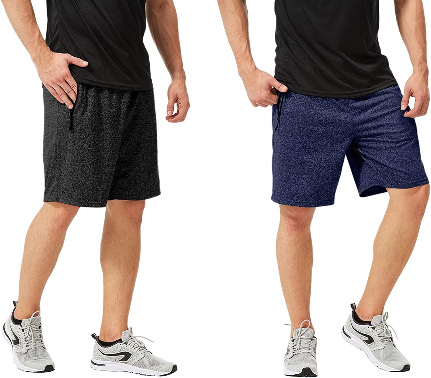 2pcs Set Athletic Shorts with Quick Dry Stretch Fabric TEXFIT Mens 2-Pack Gym Shorts with Zipper Pockets