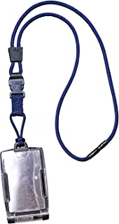 product image for EK USA FIPS 201 One Hander ID Card Holder with Lanyard, Secure Badge Holder for CAC Card, 2 sided – Navy