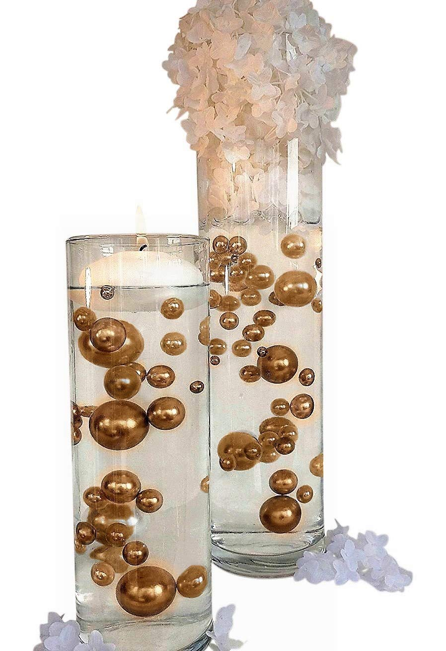 NO Hole Gold Pearls - Jumbo and Assorted Sizes Vase Fillers for Decorating Centerpieces - to Float The Pearls Order with Transparent Water Gels