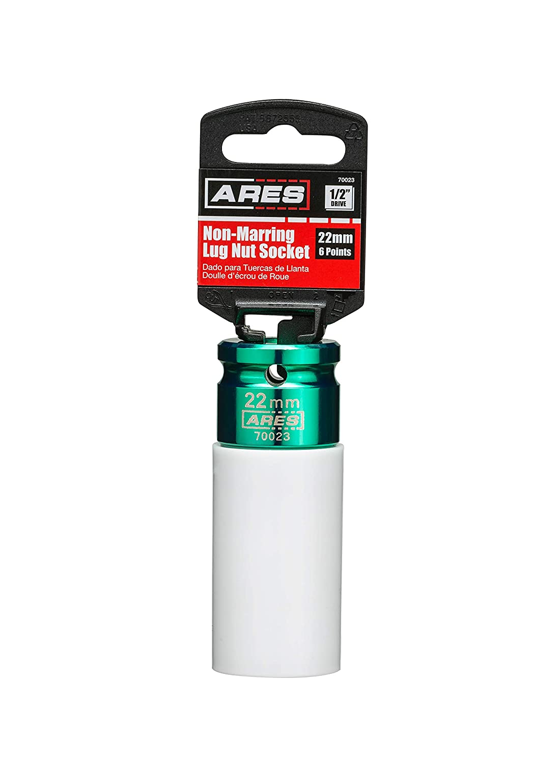 ARES 70021 1//2-inch Drive 19MM Non-Marring Lug Nut Socket Protective Sleeve Protects Custom Rims and Lug Nuts from Damage Color Coded and Laser Etched for Easy Identification
