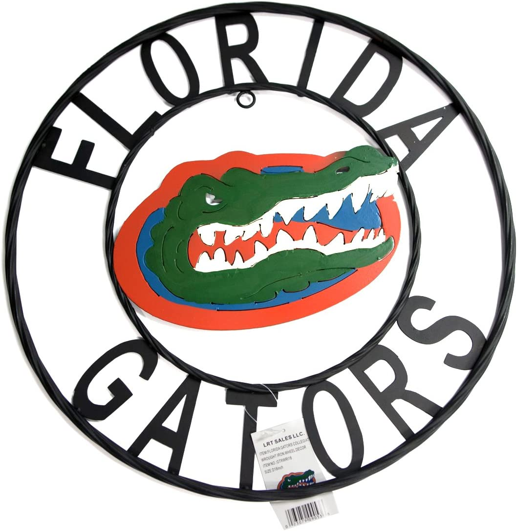 LRT SALES LLC NCAA Florida Gators Collegiate Wrought Iron Wall Decor, 18-Inch, Black/Orange and Blue