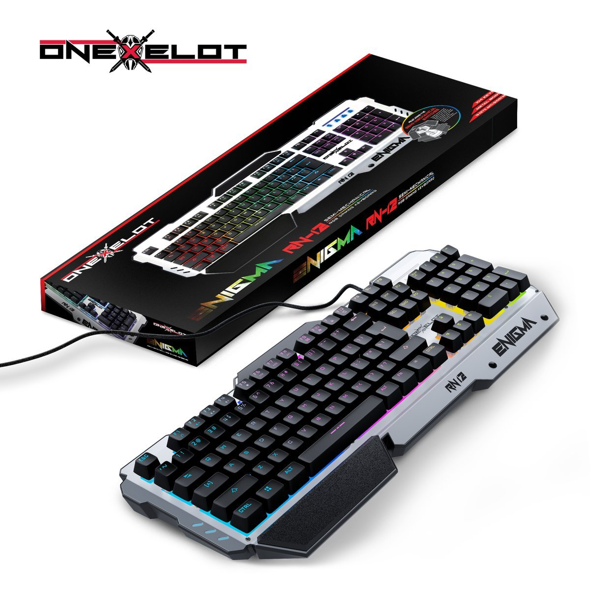 ONEXELOT Aluminum gaming keyboard, USB wired RGB backlit Revolutionary semi mechanical keyboard mod ENIGMA by ONEXELOT (Image #6)