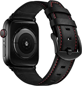 CINORS Leather Band Compatible with Apple Watch iWatch 44mm 42mm Mens Women Vintage Leather Strap XL Dressy Black Buckle Bands with Black Adapters for iWatch Series 6 5 4 3 2 1 SE, 44MM 42MM Leather Watch Band
