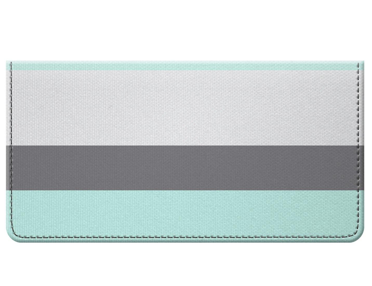 Snaptotes Seafoam Gray Thick Stripe Design Checkbook Cover
