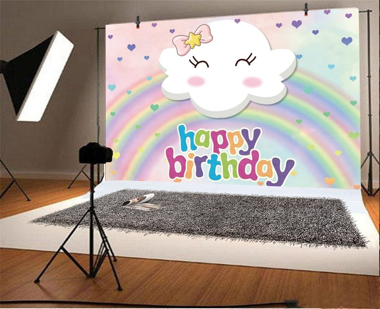 Laeacco Cartoon Happy Birthday Backdrop 6x4ft Vinyl Pastel Cute Smiling Cloud with Pink Bow Photography Background Blurry Rainbow Heart Design Kids Child Baby Shoot Birthday Party Banner Cake Smash