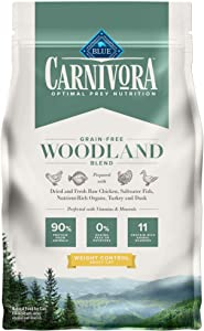 Blue Buffalo Carnivora Optimal Prey Nutrition High Protein, Grain Free Natural Adult Weight Control Dry Cat Food, Woodland Blend 4lb