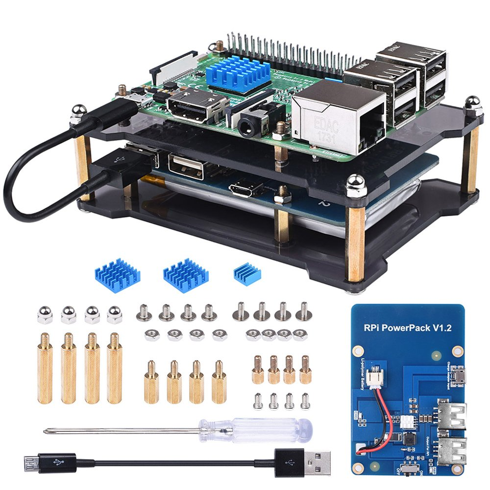 Miuzei Raspberry Pi 3/3 Model B+ Battery Pack Expansion Board, Power Supply with USB Cable, 2 Layer Acrylic Case for Raspberry Pi 3 B+, 3B, 2B