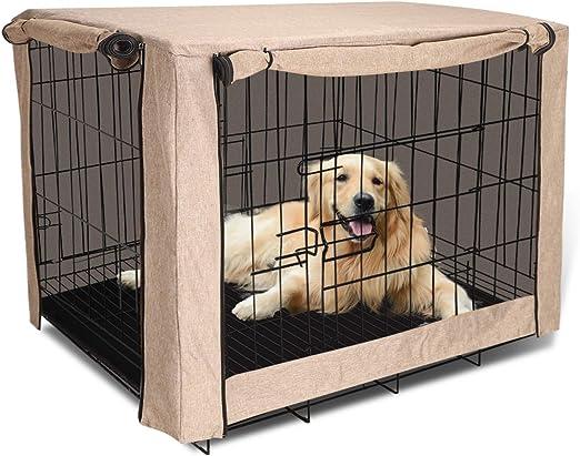 TUYU - Funda para jaula de perro para cajas de alambre, resistente al viento y al polvo, cubierta para caseta de mascotas, protección cálida para invierno al aire libre para perros grandes: