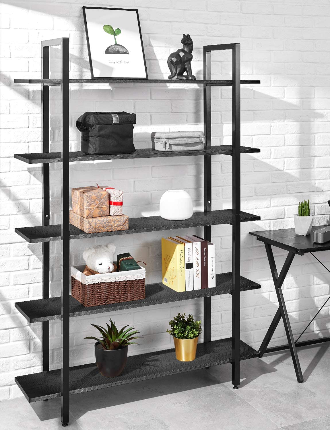 ORAF Bookshelf 5 Tier 47Lx13Wx70H inches Bookcase Solid 130lbs Load Capacity Industrial Bookshelf, Sturdy Bookshelves with Steel Frame, Assemble Easily Storage Organizer Home Office Shelf, Black