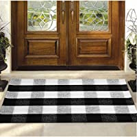Buffalo Plaid Rug - YHOUSE Checkered Indoor/Outdoor Door Mat Outdoor Doormat for Front Porch/Kitchen/Laundry Room Welcome Layered Mat