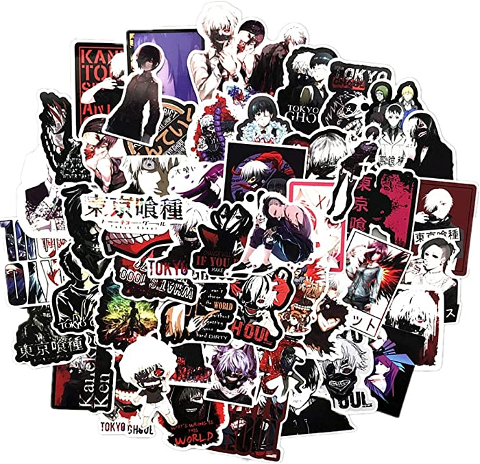 Tokyo Ghoul Anime Sticker Pack of 50 Tokyo Ghoul Decals for Laptops Hydro Flasks Water Bottles Luggage