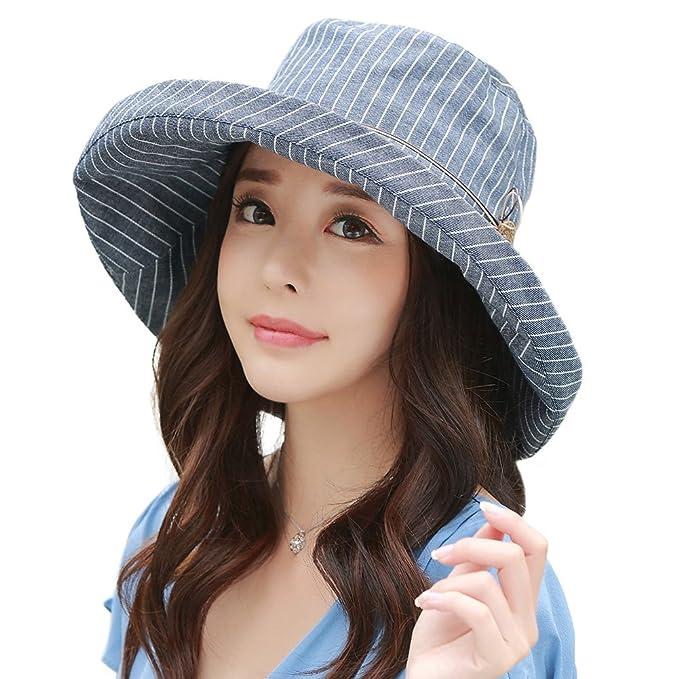 Siggi Ladies UPF50+ Summer Sunhat Cotton Bucket Packable Crushable Foldable  Wide Brim Hats w  Chin f161ab8b7724