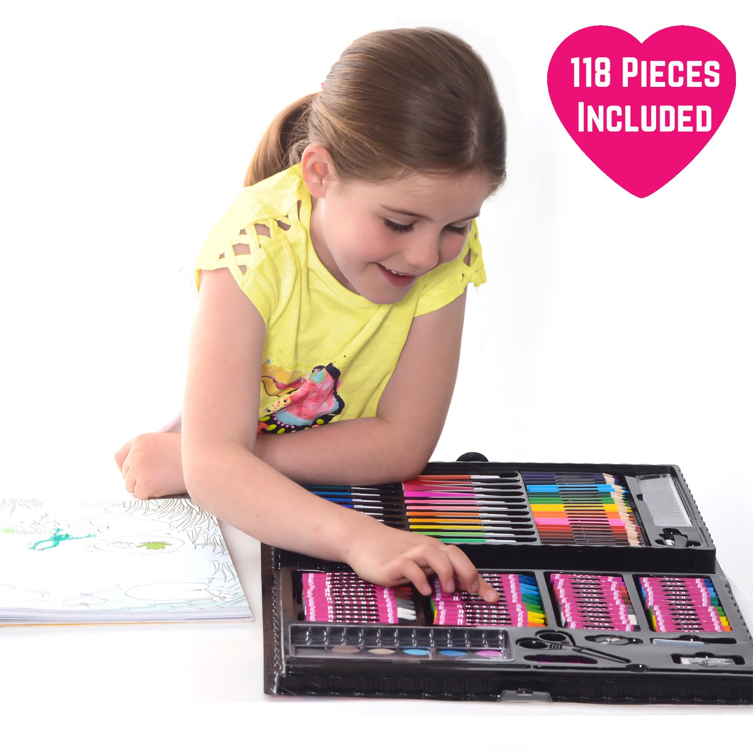 GirlZone: 118 Piece Art Set with Carry Case. Great Christmas ...