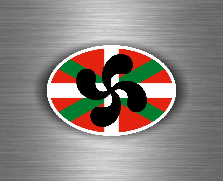 Autocollant sticker voiture moto tuning drapeau croix basque euskadi oval
