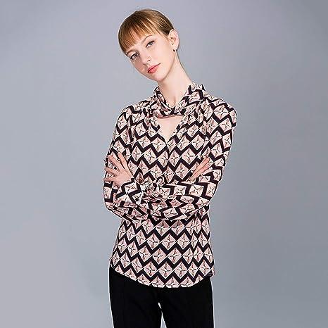 AIBAB Camisa De Seda Camisa De Gasa 100% Seda Pura Camisa Manga Larga Mujer Impresión Geométrica: Amazon.es: Deportes y aire libre