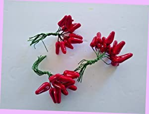 Artificial Miniature Decorative Red Chili Peppers, Crafts, Silk Flower Floral Arrangement Flowers Bouquet Realistic Flower Arrangements Craft Art Decor Plant for Party Home Wedding Decoration