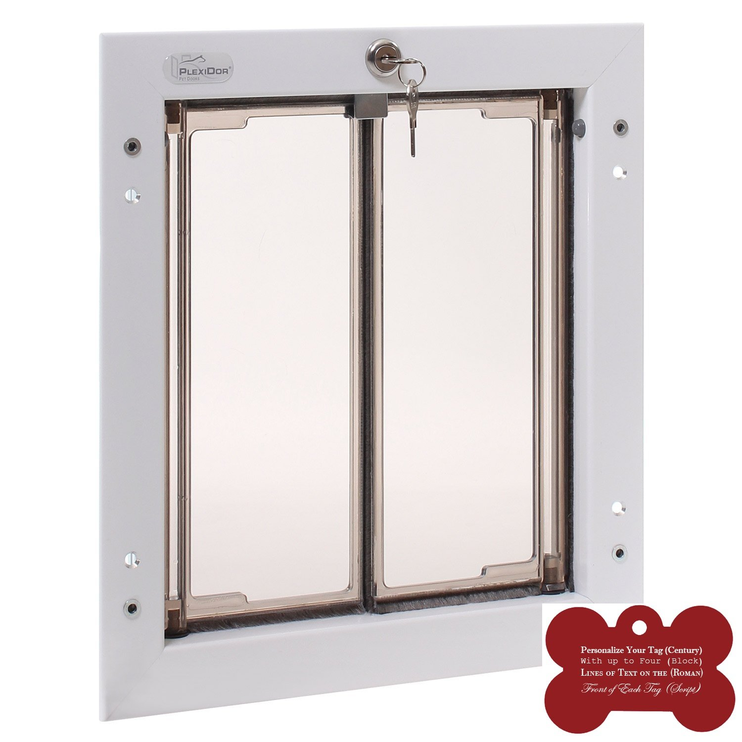 Plexidor Exterior Pet Door Medium - White Door Mounted - Energy Efficient and Secure Dog Door NO FLAPS TO REPLACE EVER - 10 Year Warranty and FREE Customized Bone Shape Dog Tag Bundle