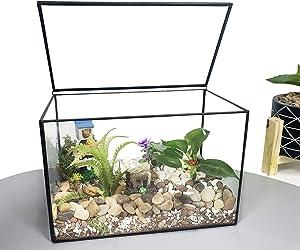 "Ferrisland Glass Terrarium Mordern Geometric Succulent Terrarium for Tabletop Decor Box w/Lid-8.3""x5.5""x4.7"""