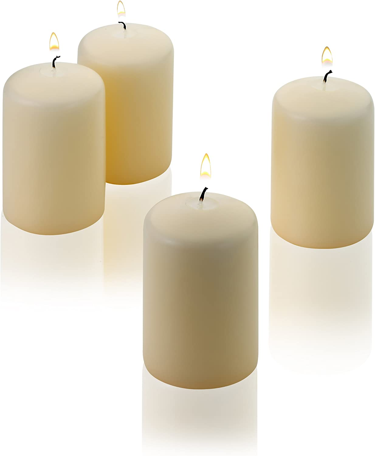 Light In The Dark Vanilla Pillar Candles - Set of 4 Unscented Candles - 3 inch Tall, 2 inch Thick - 18 Hour Clean Burn Time