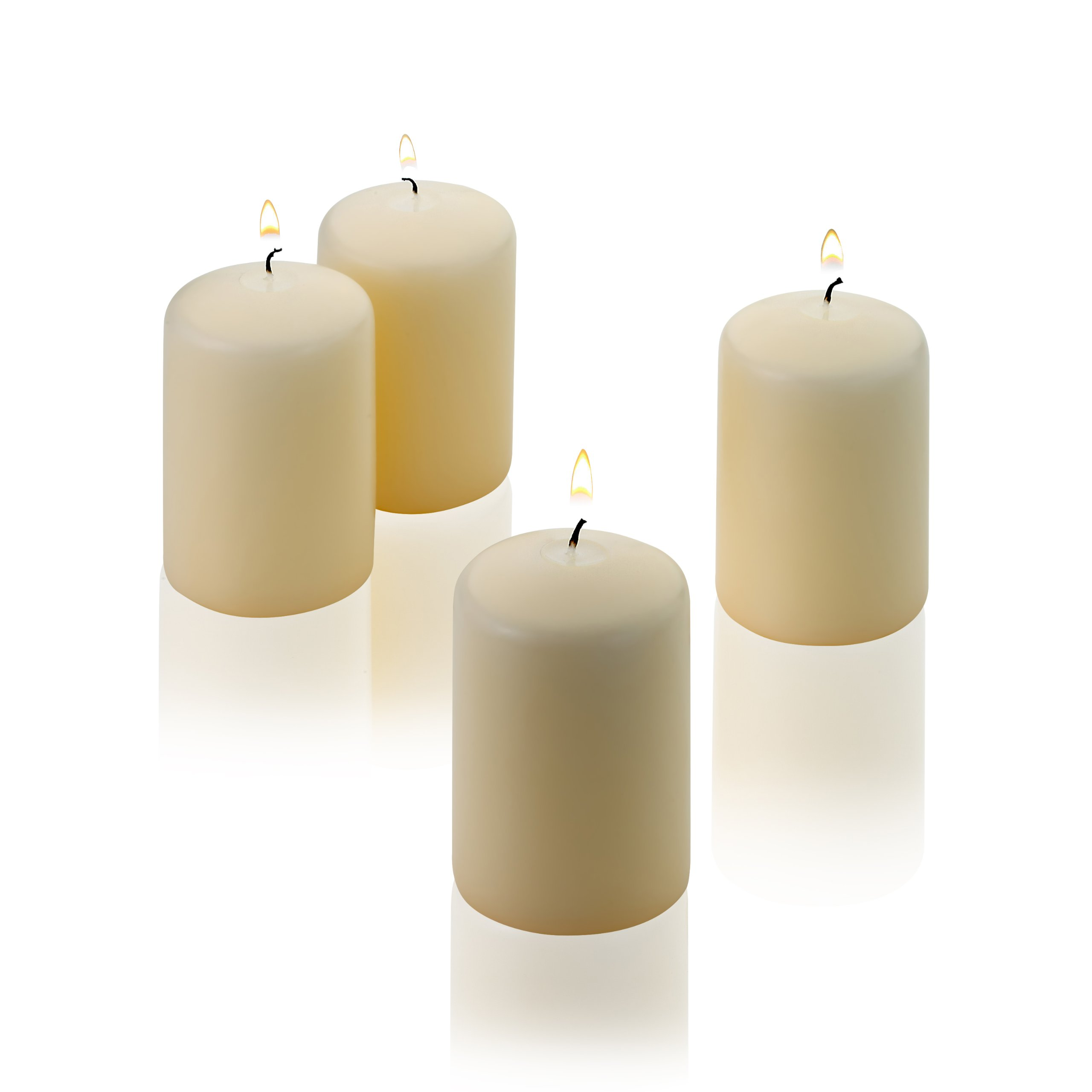 Vanilla Pillar Candles - Set of 4 Unscented Candles - 3 inch Tall, 2 inch Thick - 18 hour Clean Burn Time