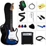 Stedman Pro Beginner Series Electric Guitar with Case, Strap, Cable, Picks, Tuner, String Winder and Polish Cloth, 10 W Amp, 39'' L, Transparent Blue