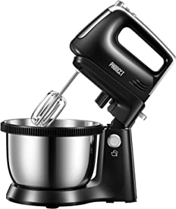 Mixer 2 in 1 Hand Mixer Electric 3.7 Quarts Stand Mixer with Rotating Bowl, 5 Speed Plus Turbo Function Electric Mixer Include 2 Beaters and 2 Dough Hooks, 250W