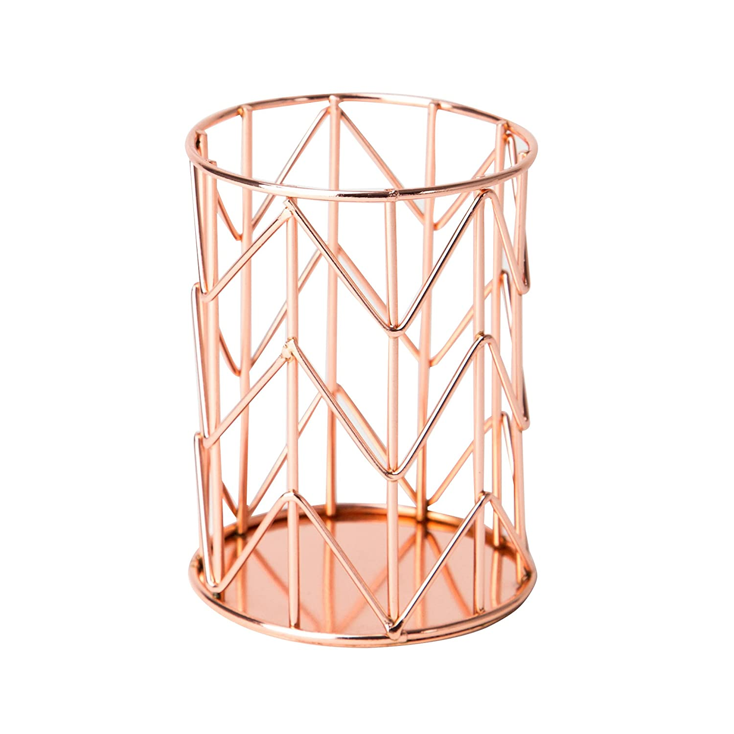U Brands Pencil Cup, Wire Metal, Copper/Rose Gold